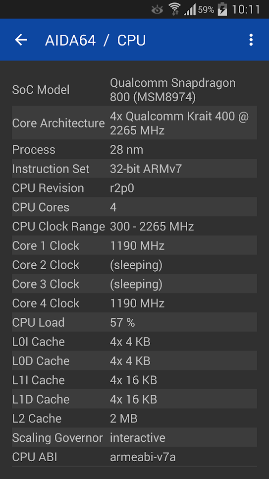 AIDA64 информация CPU