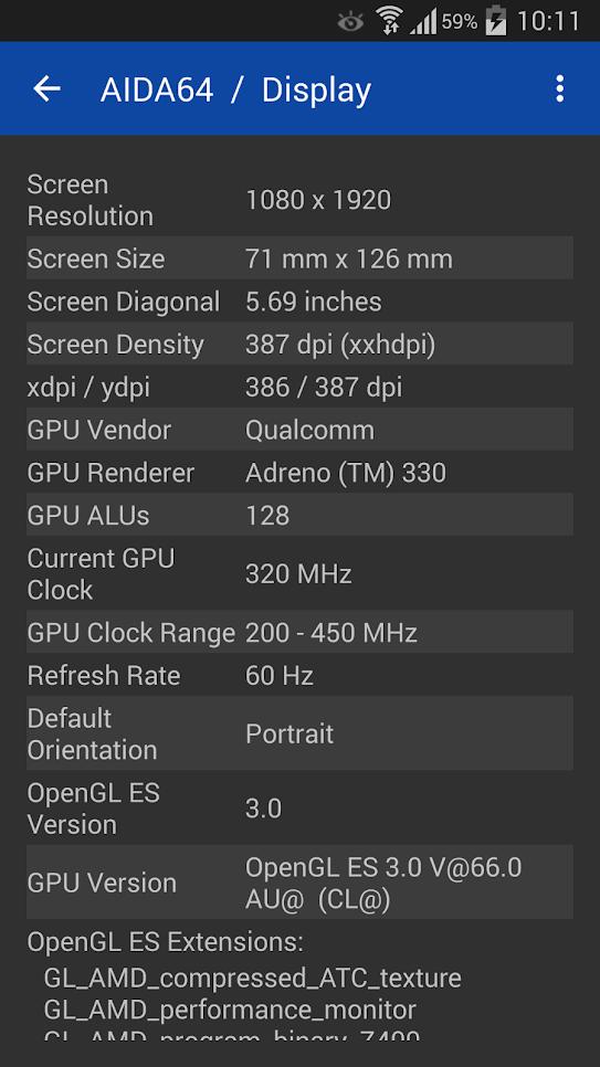 AIDA64 параметры дисплея