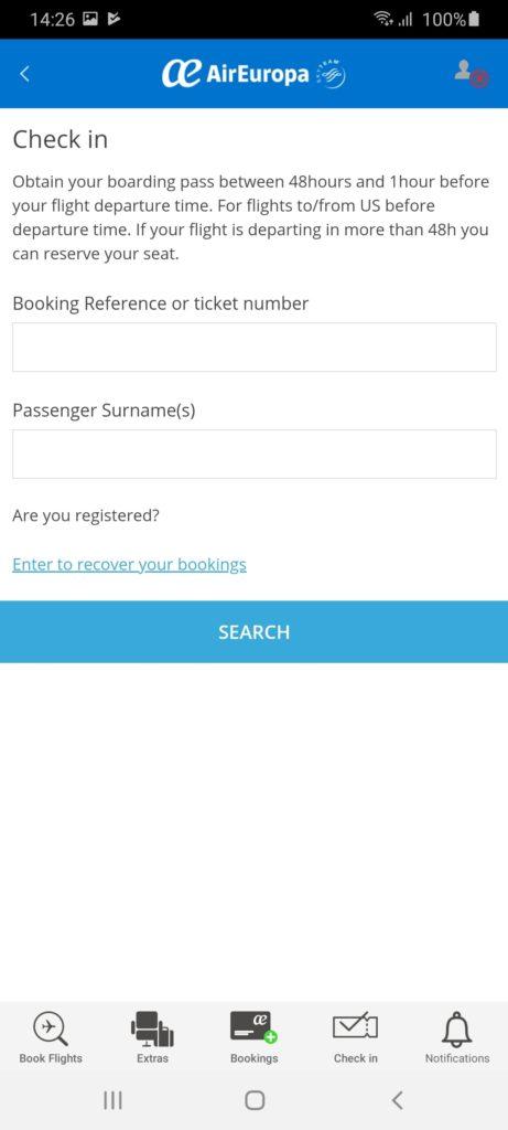 AirEuropa Регистрация
