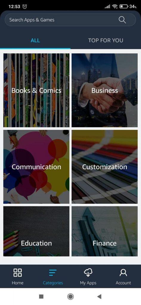 Amazon Appstore Категории