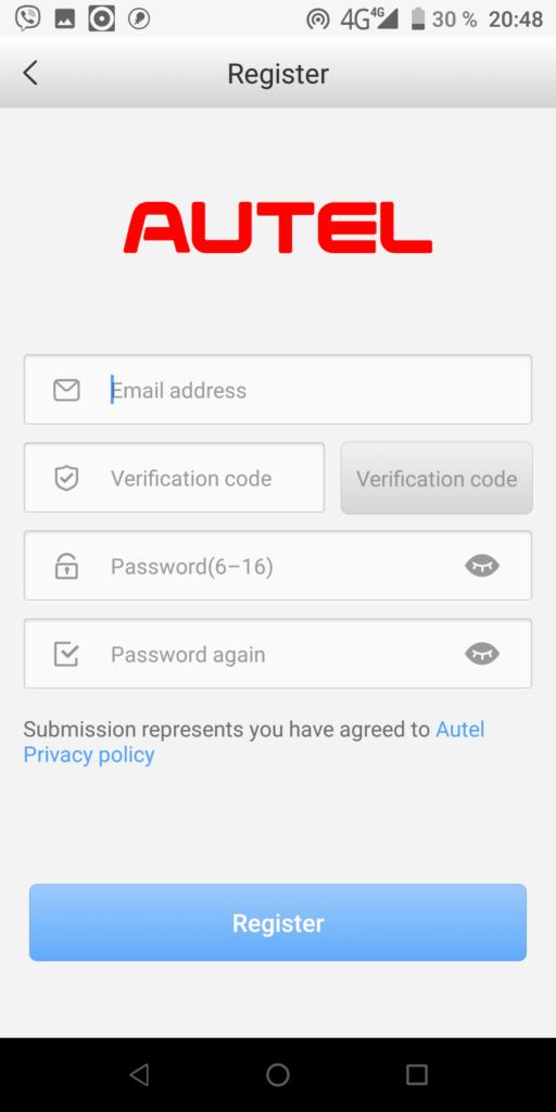 Autel Регистрация