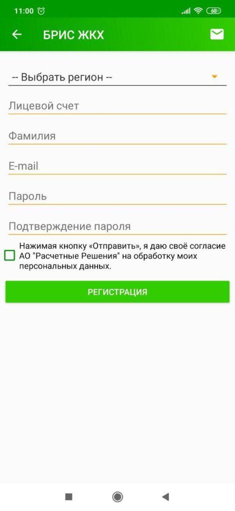 БРИС ЖКХ Регистрация