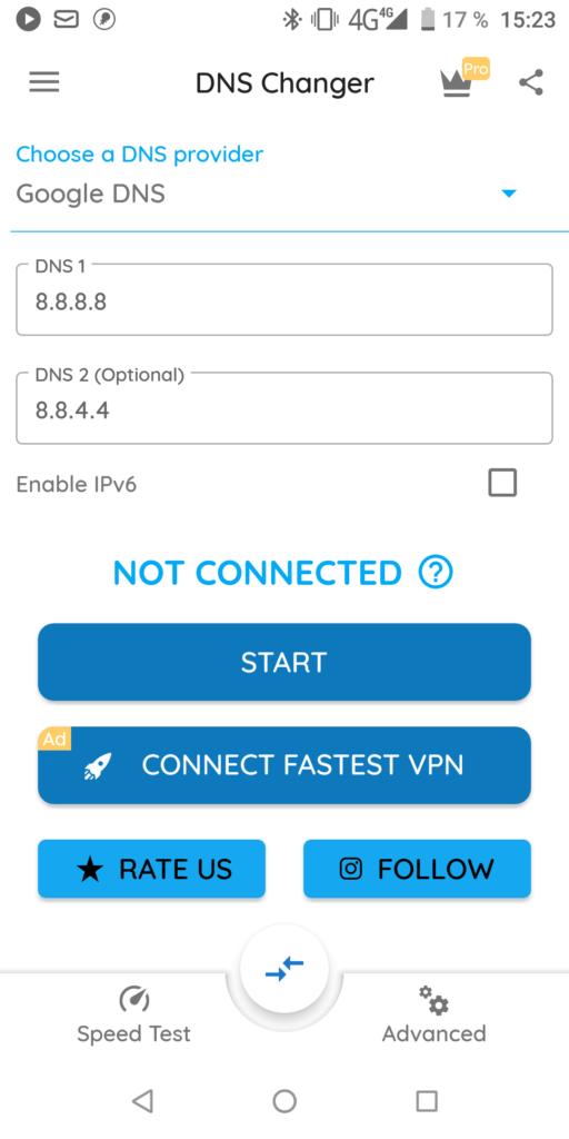 DNS Changer Главная страница