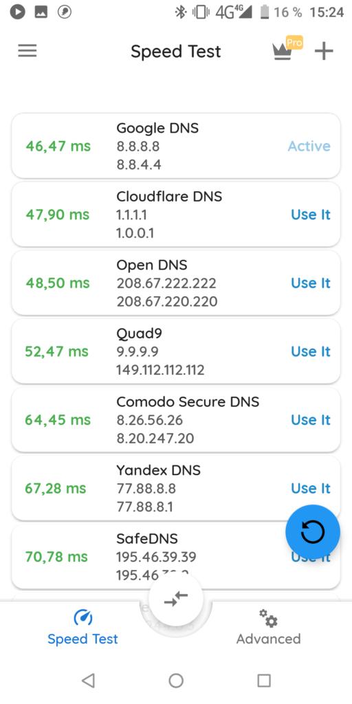 DNS Changer Тест скорости