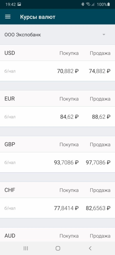Экспобанк Курсы валют