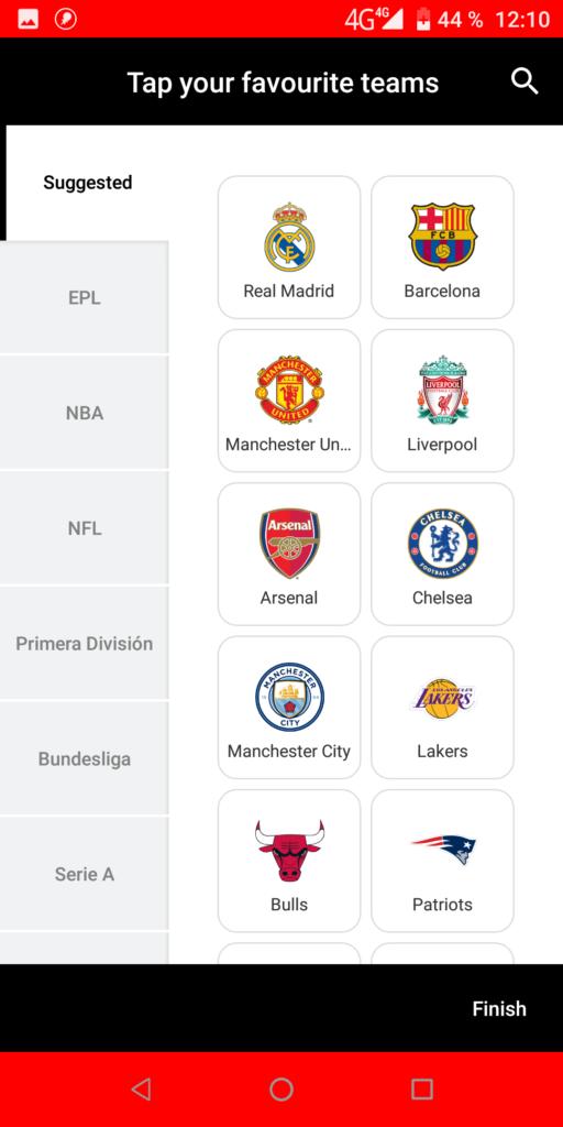ESPN Выбор команды