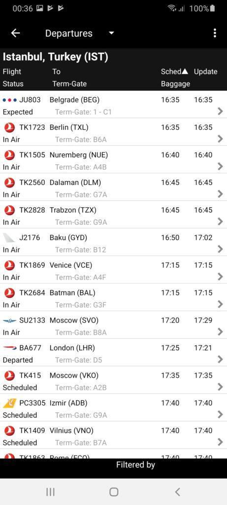 FlightView Расписание