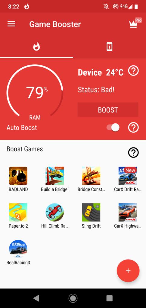Game Booster Главный экран