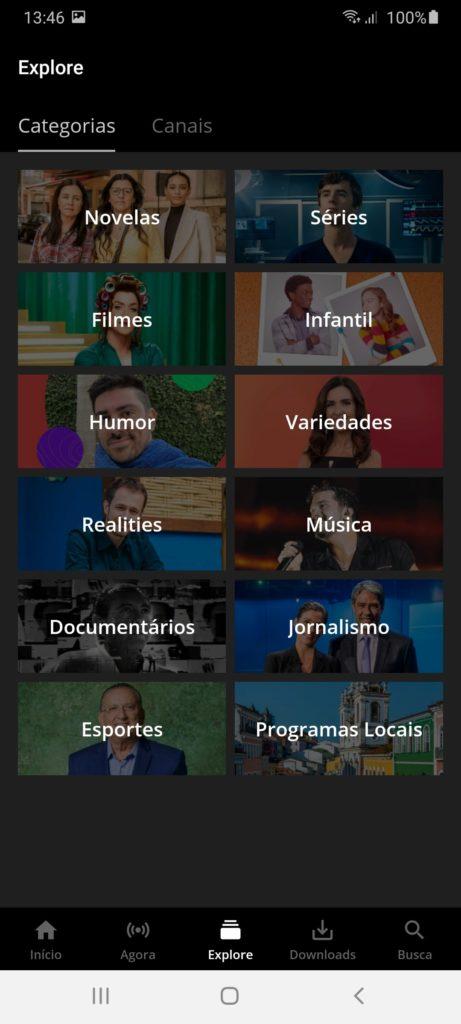 Globo Play Категории