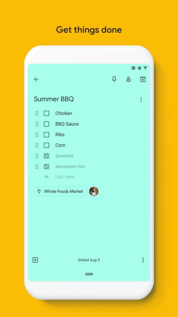 Google Keep список покупок