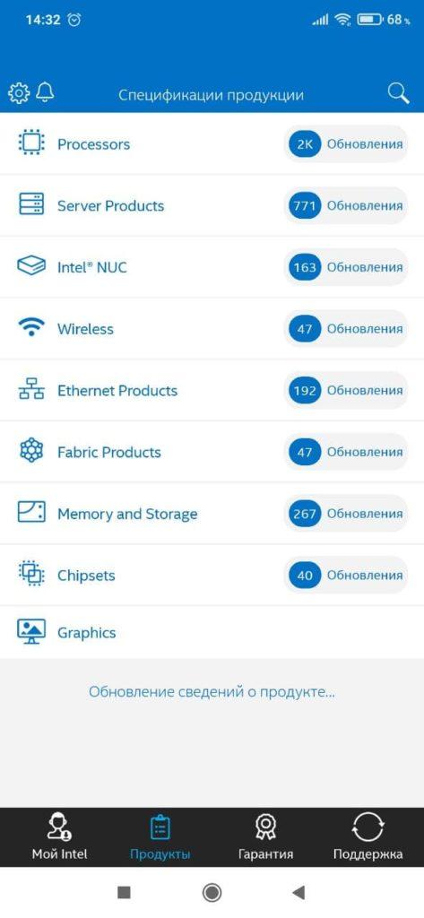 Intel Support Категории