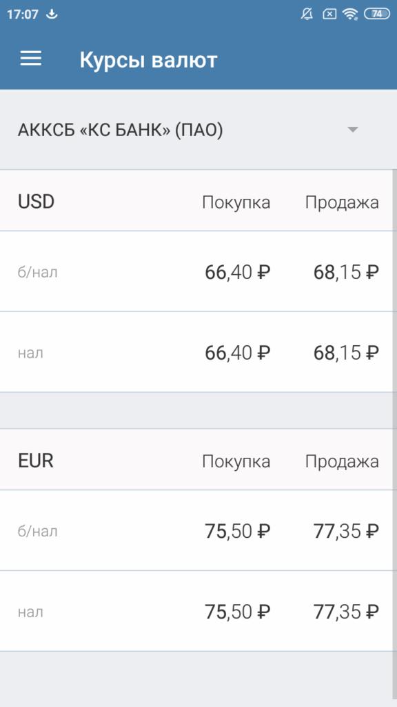 КС БАНК Курсы валют