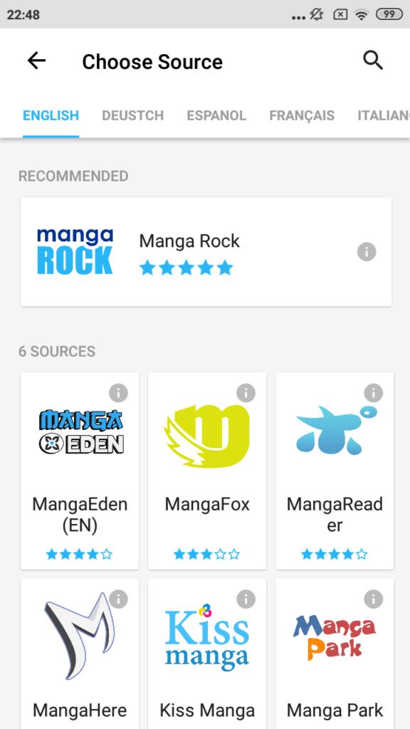 Manga Rock Выбор источника