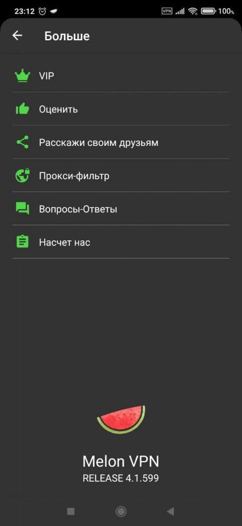 Melon VPN Параметры