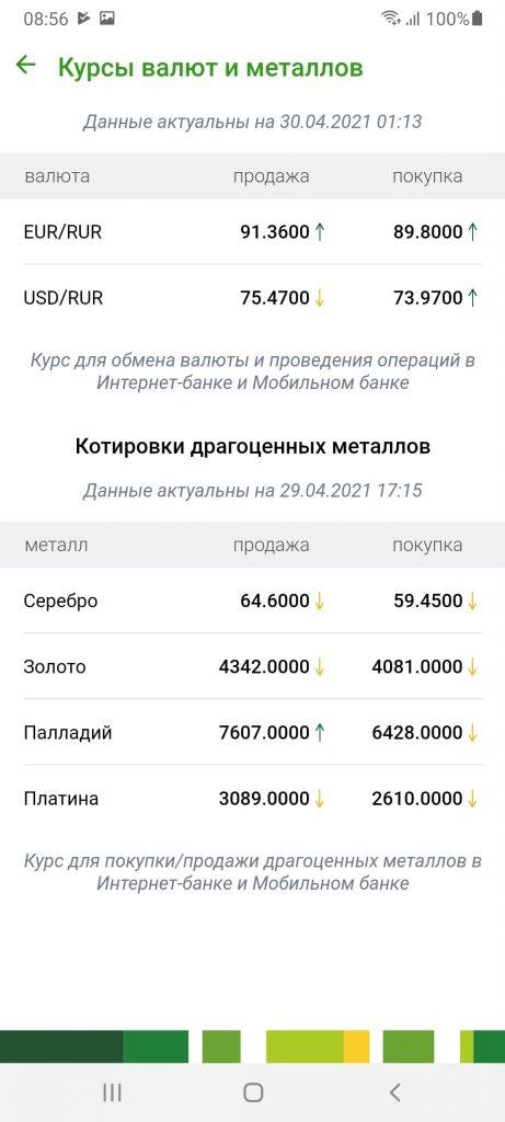 Мобильный банк Россельхозбанк Курсы валют