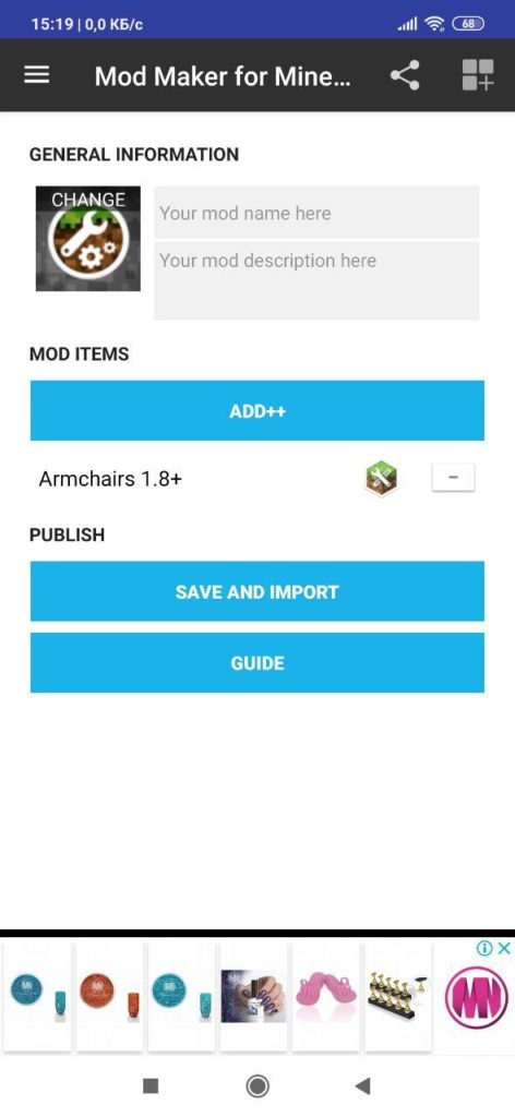 Mod Maker for Minecraft PE Создание