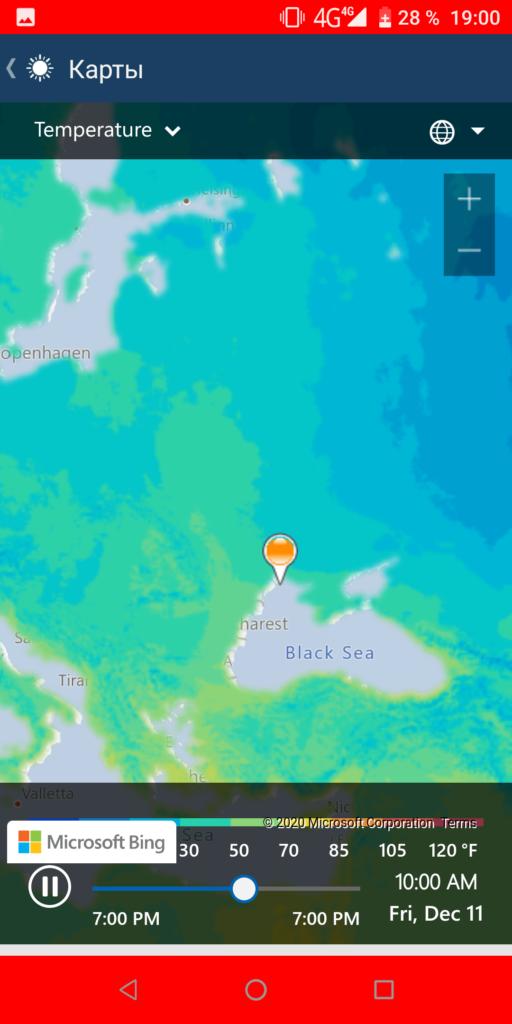 MSN Погода Карты