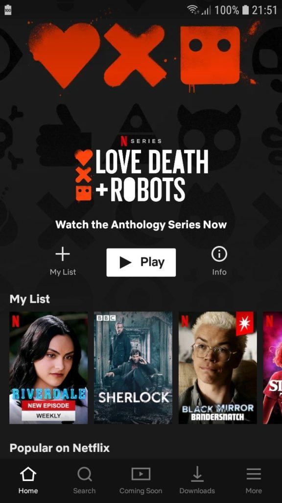 Netflix главный экран