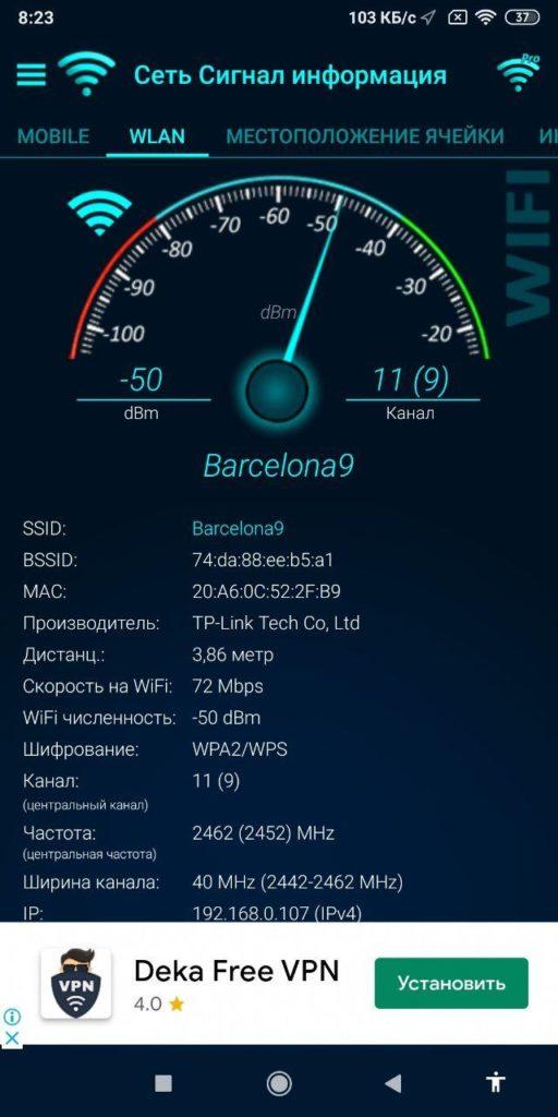 Network Signal Info Статистика