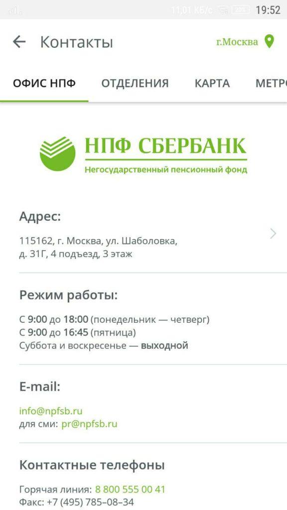 НПФ Сбербанка Контакты