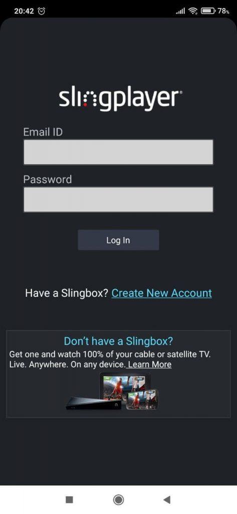 SlingPlayer Регистрация