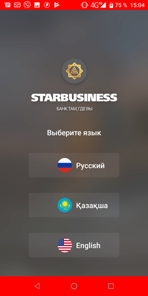 StarBusiness Выбор языка