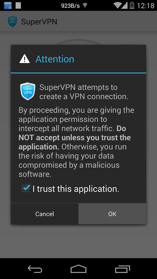 SuperVPN разрешение