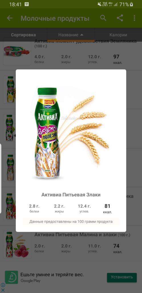Таблица калорийности продуктов данные продукта