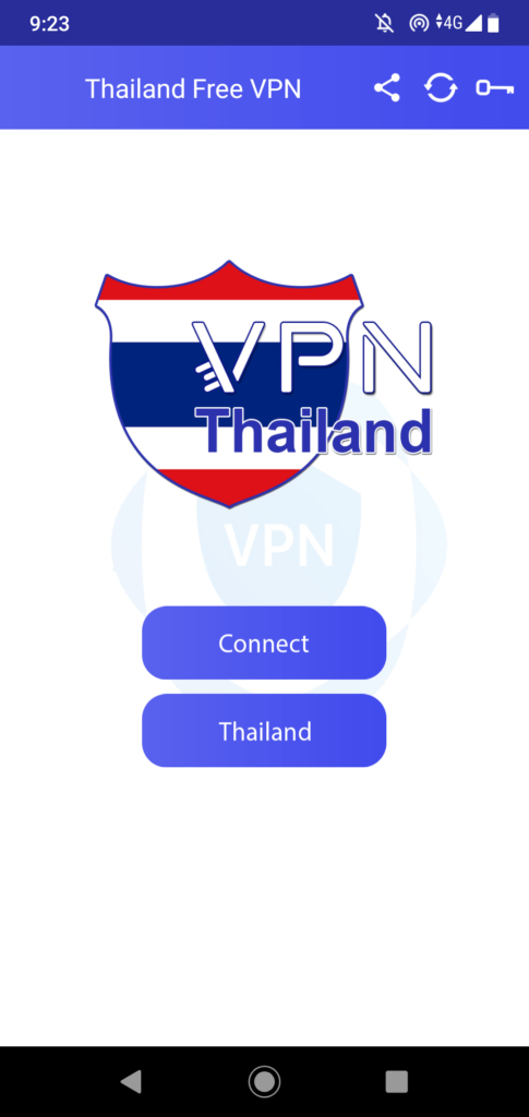 Thailand VPN Главный экран