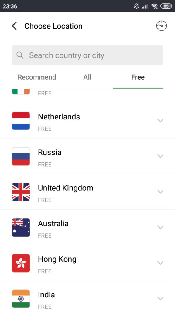 UFO VPN Список доступных серверов