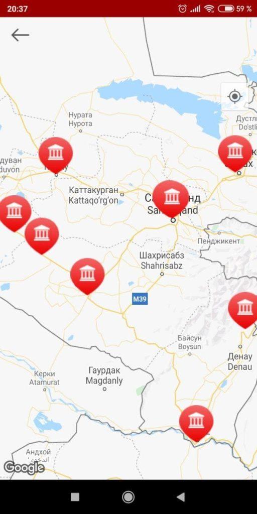 UzPSB Mobile Карта