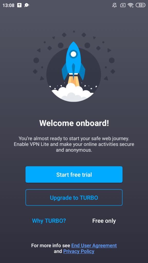 VPN Lite Стартовый экран