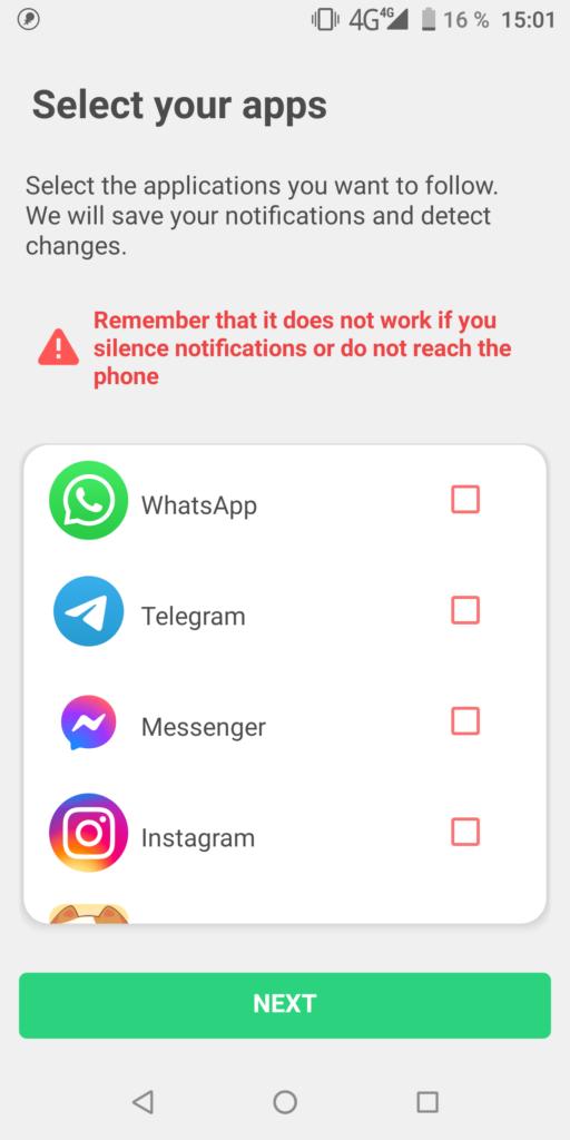 WhatsRemoved Выбор приложений