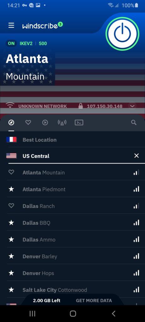 Windscribe VPN Подключение
