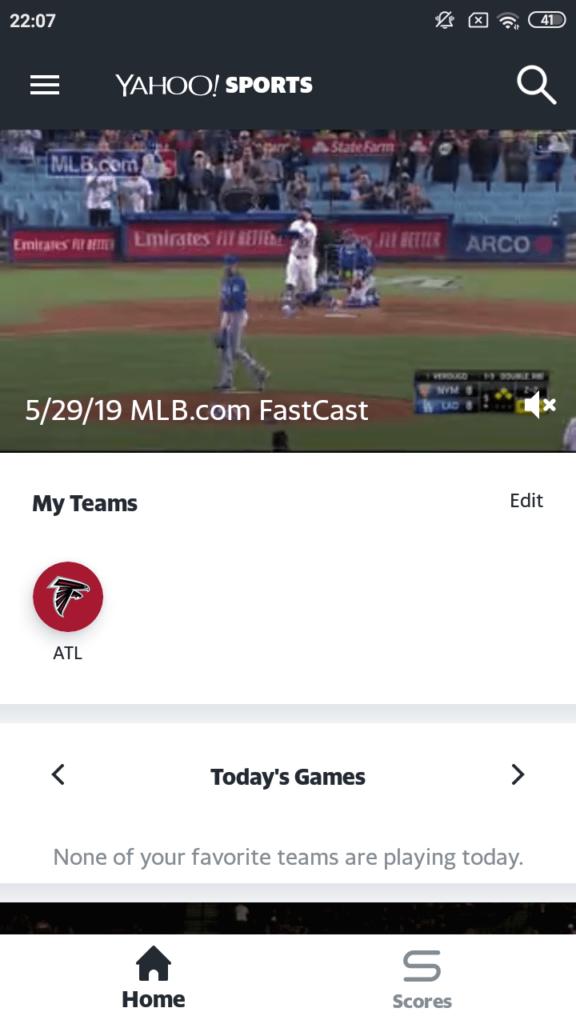 Yahoo Sports Основной экран