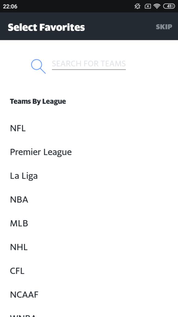 Yahoo Sports Выбор любимой команды
