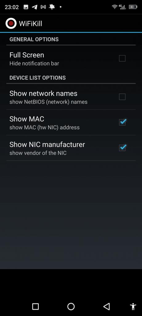 WiFiKill Опции