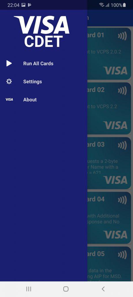 Visa payWave Меню