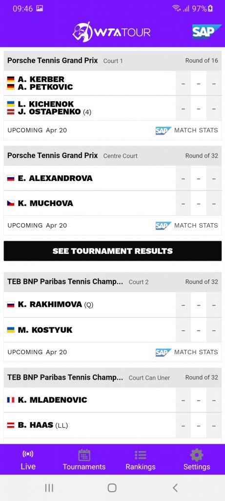 WTA Scores Турниры