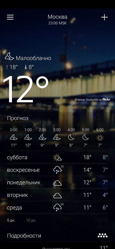 Yahoo Погода Прогноз