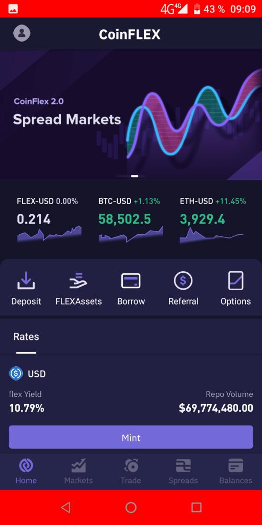 CoinFLEX Домашняя страница