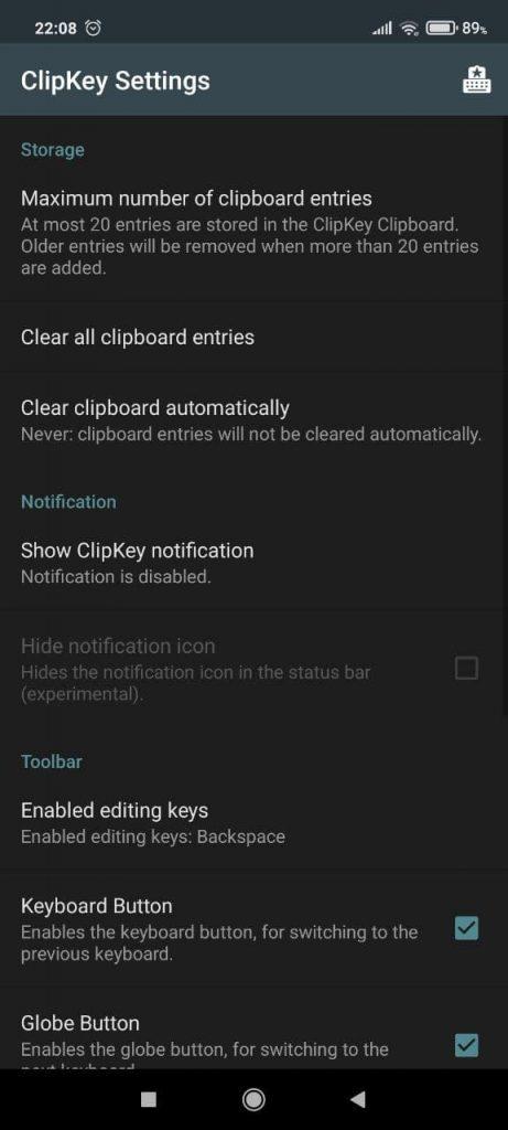 ClipKey Настройки